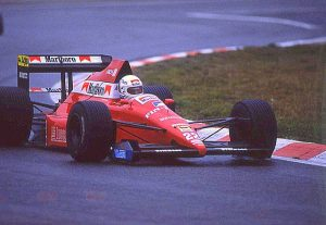 De Cesaris in een BMS Dallara tijdens de GP van België (1989)